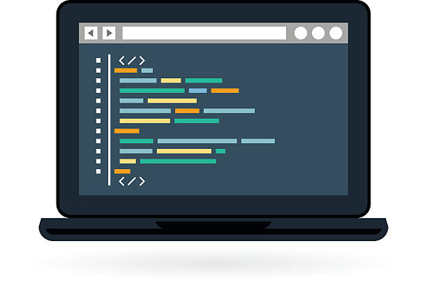Programming and coding icon - laptop Programming and coding icon - website development on laptop screen php programming language stock illustrations