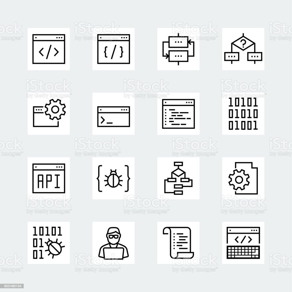 Programming and coding vector icon set in thin line style vector art illustration