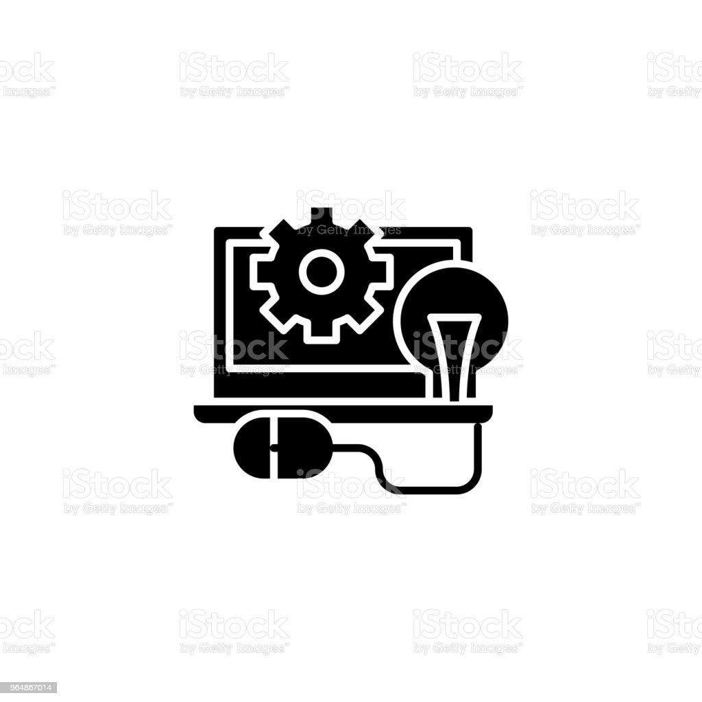 程式設計黑色圖示概念。程式設計平面向量符號, 符號, 插圖。 - 免版稅一組物體圖庫向量圖形