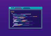 Programming and coding program application window with lines of code.