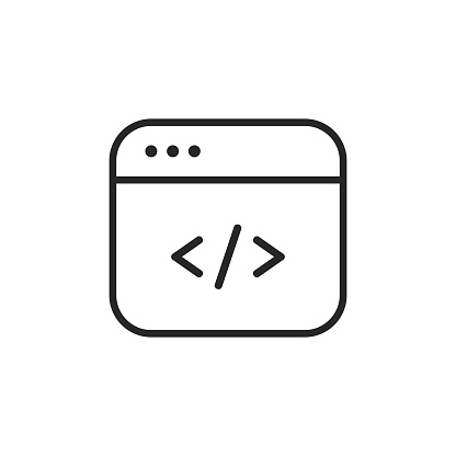 Programming, Coding Line Icon with Editable Stroke.