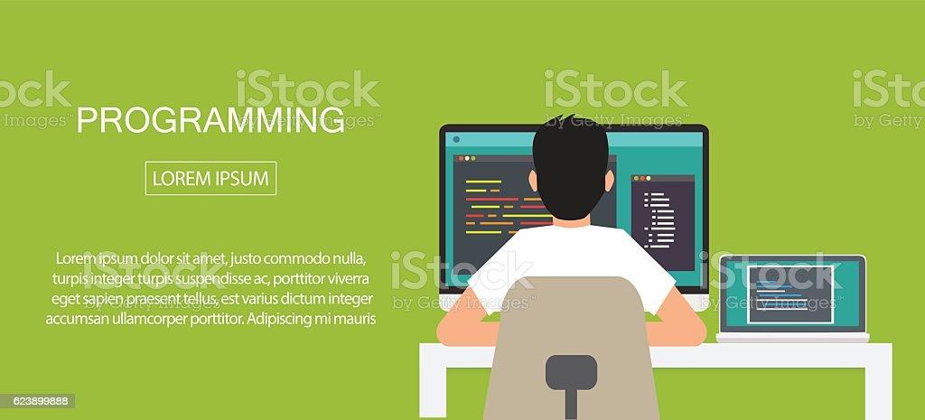 programming coding, programming banner vector art illustration