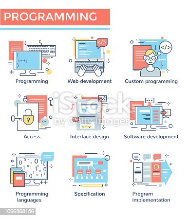 Programming concept icons, thin line, flat design