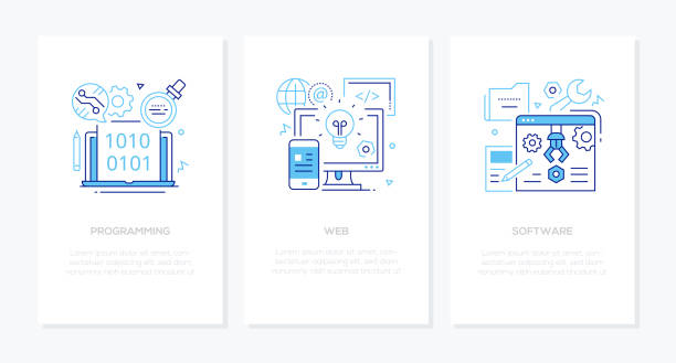 Programming concept - line design style banners set vector art illustration