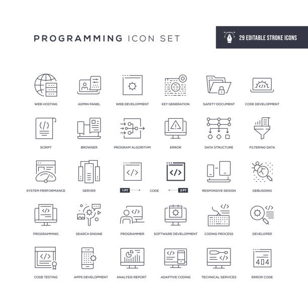 Programming Editable Stroke Line Icons 29 Programming Icons - Editable Stroke - Easy to edit and customize - You can easily customize the stroke with web design stock illustrations