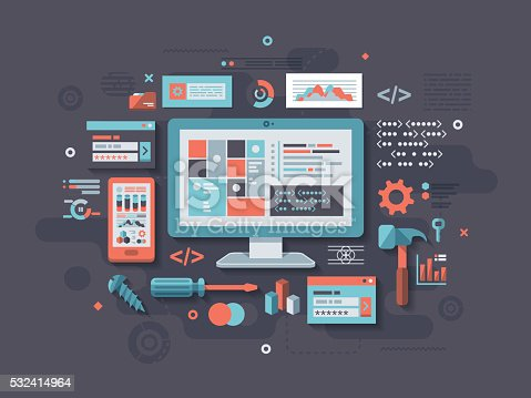A concept illustration with flat design-styled vectors themed on programming and coding. EPS 10 file, layered & grouped,
