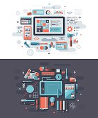 Concept illustrations with flat design-styled vectors themed on programming and graphic design. EPS 10 file, layered & grouped,