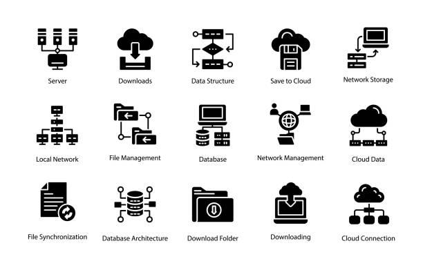 stockillustraties, clipart, cartoons en iconen met pak van de pictogrammen van de programmering - netwerkserver