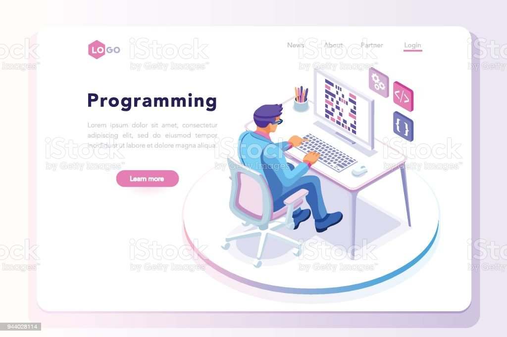 Programming landing page template royalty-free programming landing page template stock illustration - download image now