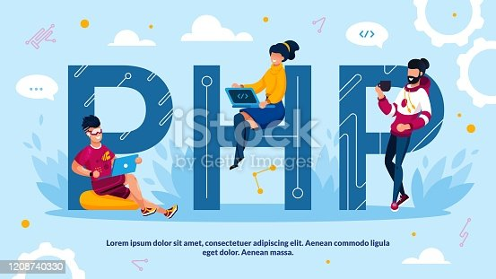 PHP Programming Language and Software Development Advertisement. Capital Letter and tiny Man Woman Programmer Team Working on Laptop, Drinking Coffee Design. Technology Process with Script Code