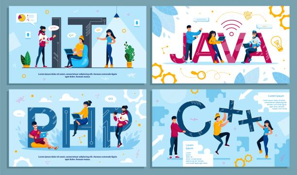 IT Programming Language and Web Development Set IT Programming Language, Program Code and Software Web Development. Programmer, Designer IT-Specialist, Developer Engaged in Technology Process Advertising Poster Set. Vector Illustration php programming language stock illustrations