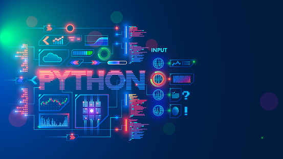 Programming language python. Conceptual banner. Education coding computer language python. Technology of software develop. Writing code, learning artificial intelligence, AI, computer neural networks