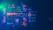 istock Programming language python. Conceptual banner. Education coding computer language python. Technology of software develop. Writing code, learning artificial intelligence, AI, computer neural networks 1284202542