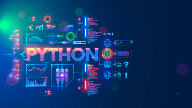 Programming language python. Conceptual banner. Education coding computer language python. Technology of software develop. Writing code, learning artificial intelligence, AI, computer neural networks vector art illustration