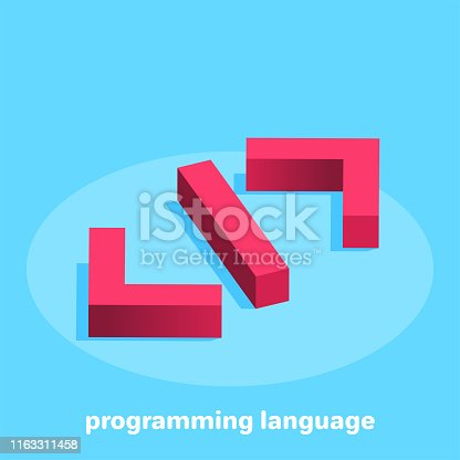 isometric vector image on a blue background, the icon in red in the form of brackets denoting the code of the programming language