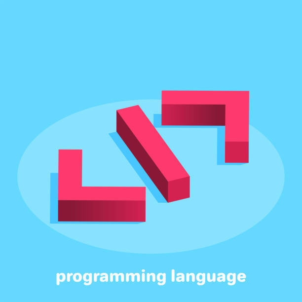programming language isometric vector image on a blue background, the icon in red in the form of brackets denoting the code of the programming language php programming language stock illustrations
