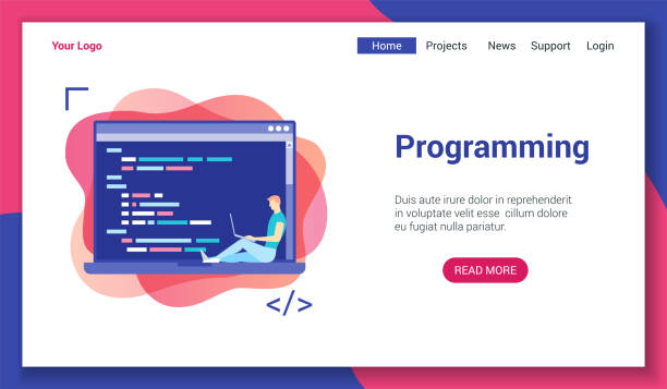 programming lp template Flat design concept on programming theme. Vector illustration mock-up for website and mobile website. Landing page template. php programming language stock illustrations