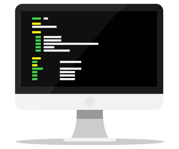Programming monitor vector art illustration