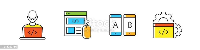 872677410 istock photo Programming Related Vector Line Icons. Outline Symbol Collection. 1213293780