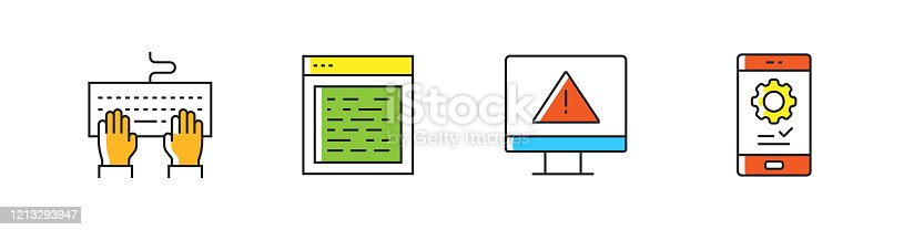 872677410 istock photo Programming Related Vector Line Icons. Outline Symbol Collection. 1213293947