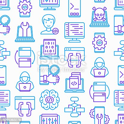 Programming seamless pattern with thin line icons: developer, code, algorithm, technical support, program setup, porting, compilation, app testing, virus, optimization. Modern vector illustration.