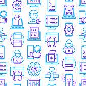 Programming seamless pattern with thin line icons: developer, code, algorithm, technical support, program setup, porting, compilation, app testing, virus, optimization. Modern vector illustration.