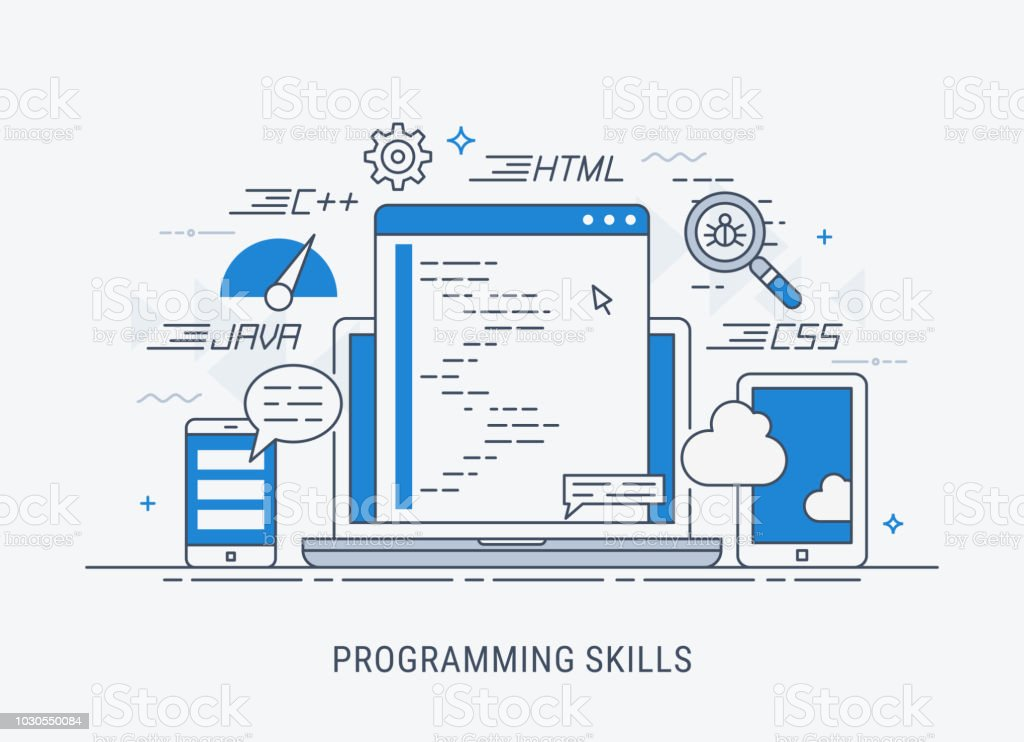 Programming skills vector illustration royalty-free programming skills vector illustration stock illustration - download image now