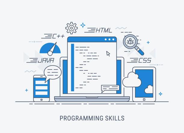Programming skills vector illustration Programming and coding skills. Development and debugging. Flat modern line-art vector illistration. broadcast programming stock illustrations