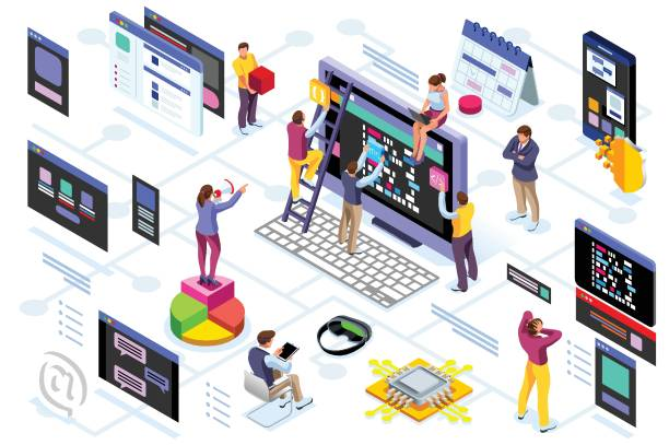 Programming software interface vector Programming software interface on device by engineers. Application for company project. A space of professional solutions for systems and softwares. Conceptual illustration. Isometric people vector. travel agents stock illustrations