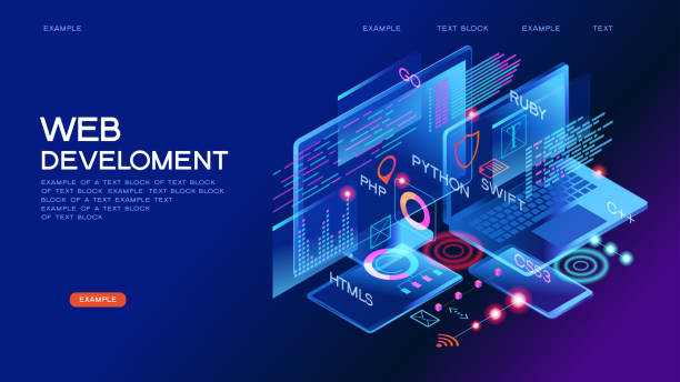 Programming web banner Programming web banner. Best programming languages. Technology process of Software development web design stock illustrations