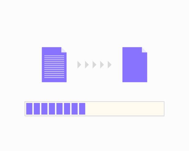 Progress bar of file copying Computer, Data, Downloading, Equipment, Technology transfer image stock illustrations