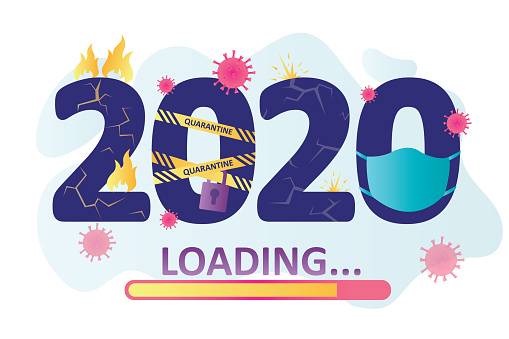 Progress bar with inscription. 2020 year loading. Year of coronavirus and global pandemic.Time flow concept