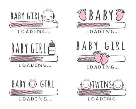 Progress bar with inscription - Baby Girl Loading collection in sketchy style. Vector illustration for t-shirt design, poster, card, baby shower decoration.