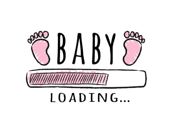 Progress bar with inscription - Baby  loading and kid footprints in sketchy style. Progress bar with inscription - Baby  loading and kid footprints in sketchy style. Vector illustration for t-shirt design, poster, card, baby shower decoration. baby clothing stock illustrations