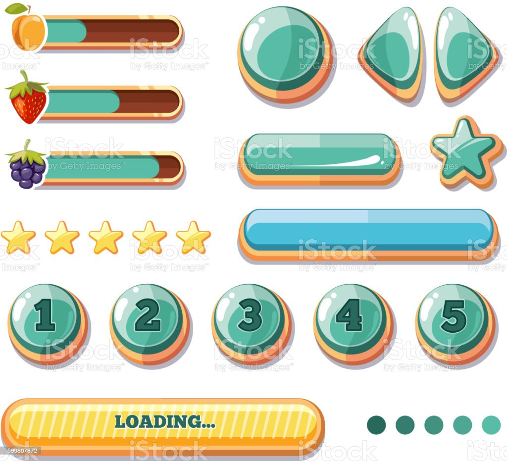 Progress bars, buttons, boosters, icons for computer games user interface vector art illustration