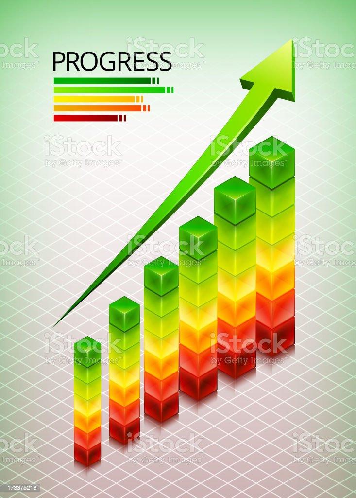 Progress Cubes on Custom Business Background royalty-free stock vector art