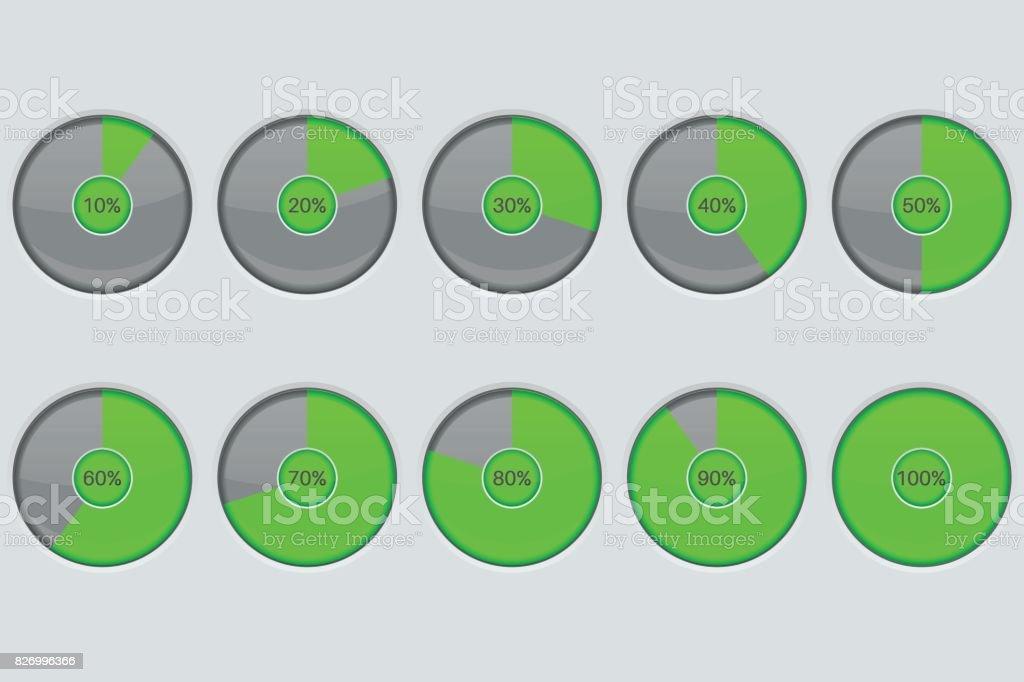 Progress indicator. Green round loading icon vector art illustration