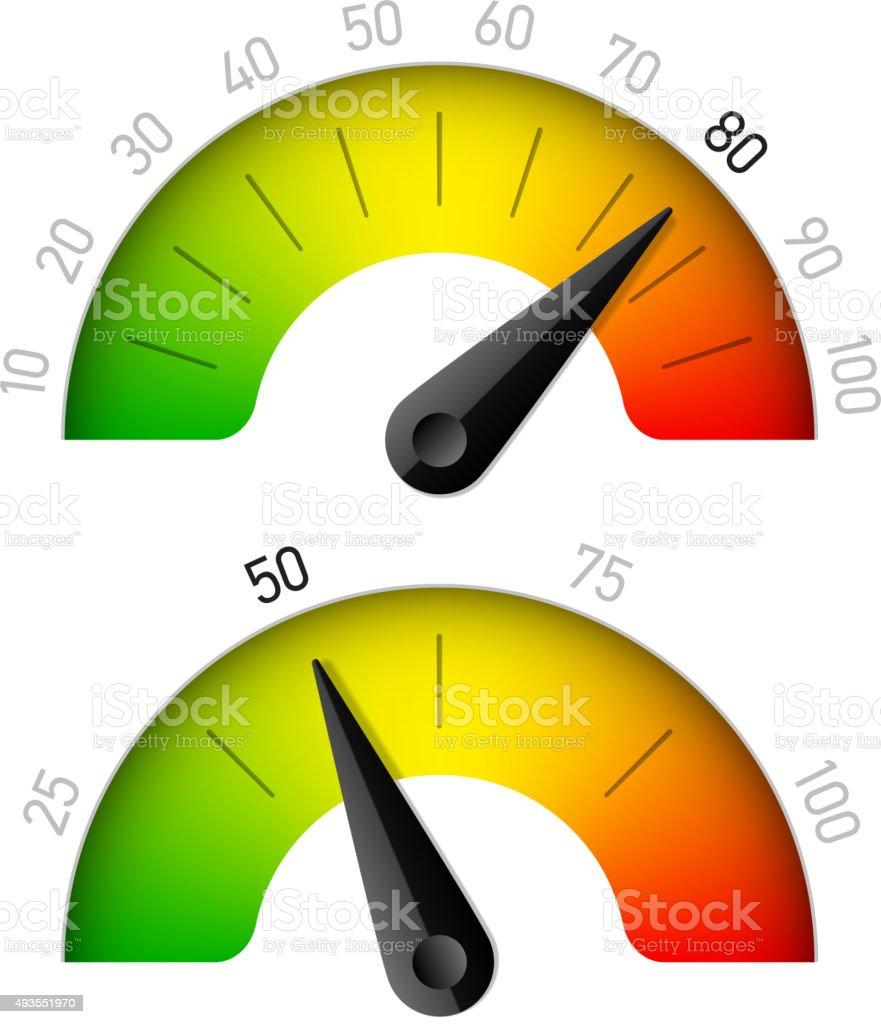 Progress indicator with percentage vector art illustration