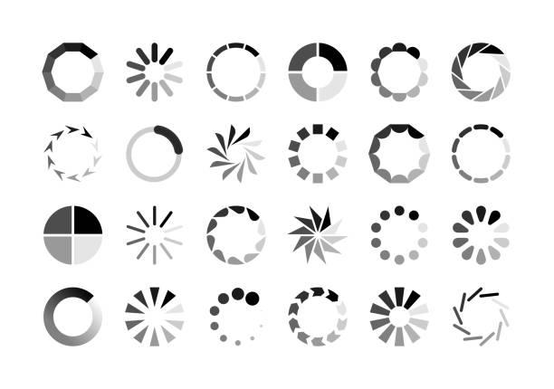 進度載入程式圖示。載入旋轉圓圈圓形緩衝指示等待載入電腦網站下載上傳向量集 - gif 幅插畫檔、美工圖案、卡通及圖標