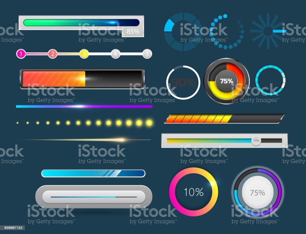 Carregando bar indicadores baixar progresso ui-ux web interface projeto modelo arquivo upload de ilustração em vetor de progresso - ilustração de arte em vetor