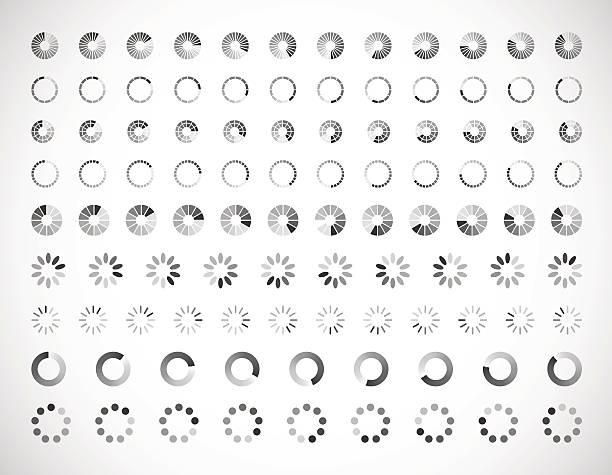 ilustrações, clipart, desenhos animados e ícones de progresso carregando bar. conjunto de indicadores. download de progresso, interface de carregamento - esperar