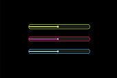 Progress loading bar with lighting. Concept technology. Vector illustration.