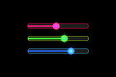 Progress loading bar with Neon Target isolated. Concept technology. Vector illustration.