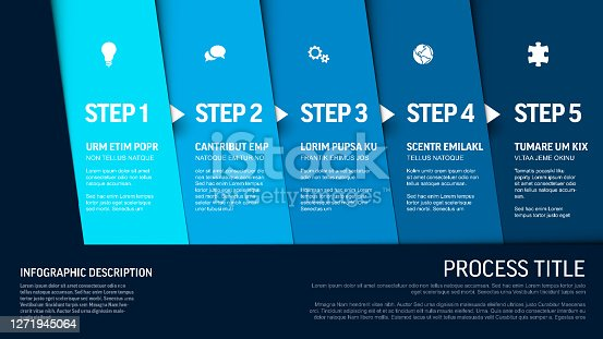 istock Progress template with five blue steps and icons 1271945064