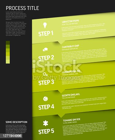 istock Progress template with green steps and icons 1271944996