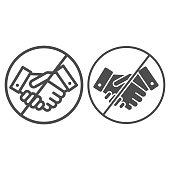 Prohibited handshake line and solid icon, economic sanctions concept, No Handshake sign on white background, No dealing or No collaboration icon in outline style for mobile and web. Vector graphics