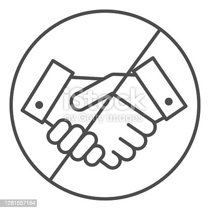 istock Prohibited handshake thin line icon, economic sanctions concept, No Handshake sign on white background, No dealing or No collaboration icon in outline style for mobile and web. Vector graphics. 1281557154
