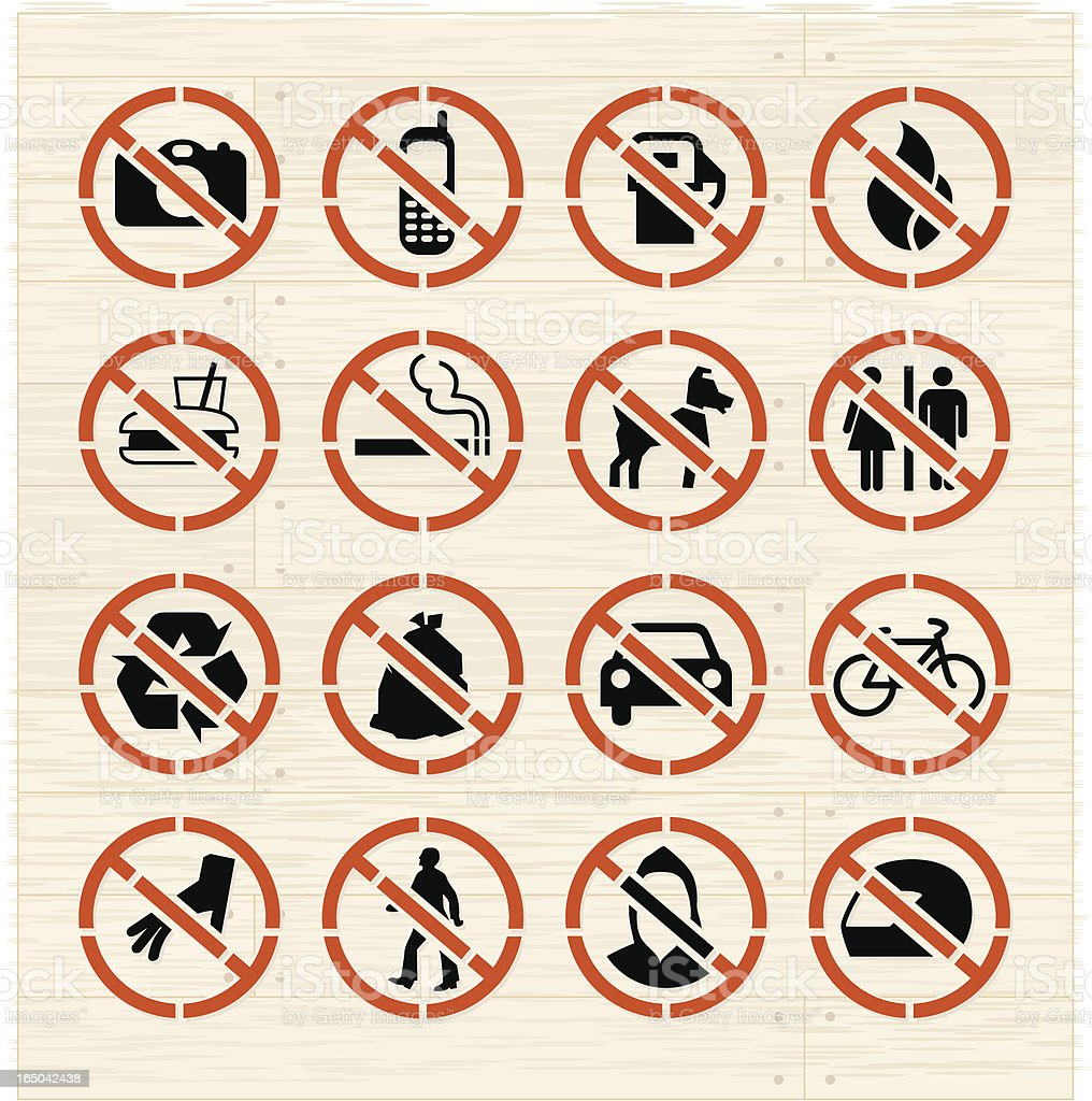 Prohibited Icons on Ash royalty-free stock vector art