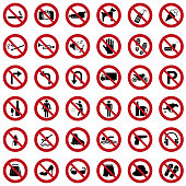Prohibited icons vector set