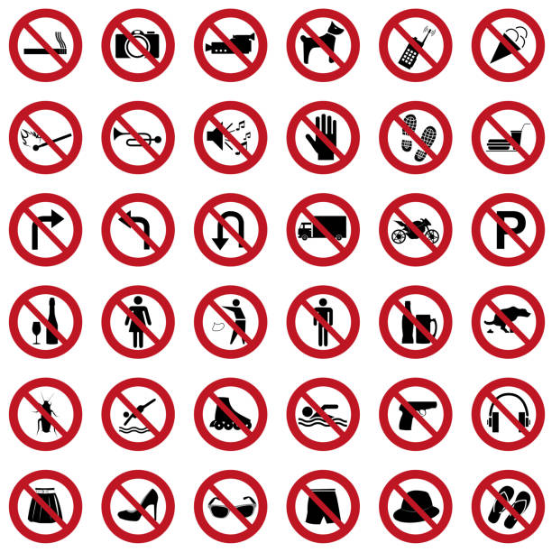 verbotene symbole vektor-satz - ausstoßen stock-grafiken, -clipart, -cartoons und -symbole